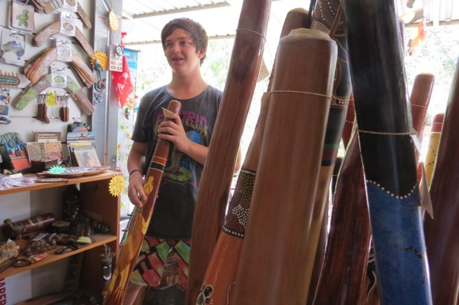 At Kenn's shop at the markets could be found any shape, size or coloured didgeridoo imaginable.