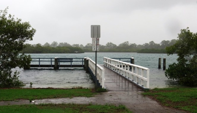 High tide at the jetty.