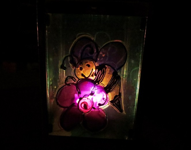 This bumble bee looks far happier in my lantern than it would be outdoors right now.