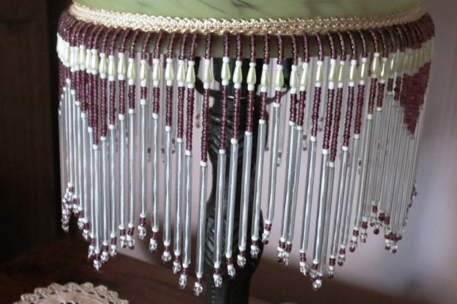 I love the plum coloured beading on this lamp.