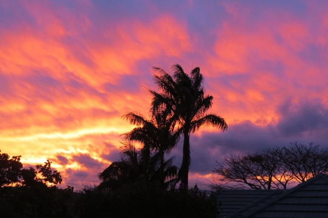 After wild weather, as the colour purple shares the sky with some orange.