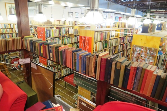 Surrounded by books, books high, books low, books everywhere.  :)