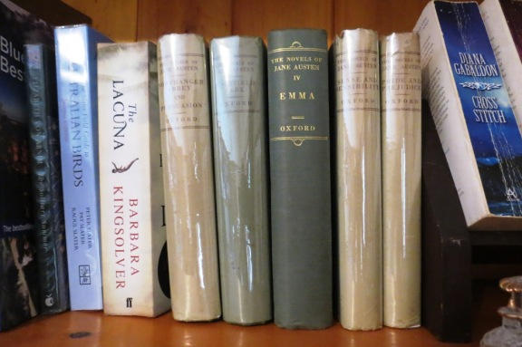 My Jane Austen finds, safely tucked up on one of my book shelves at home.